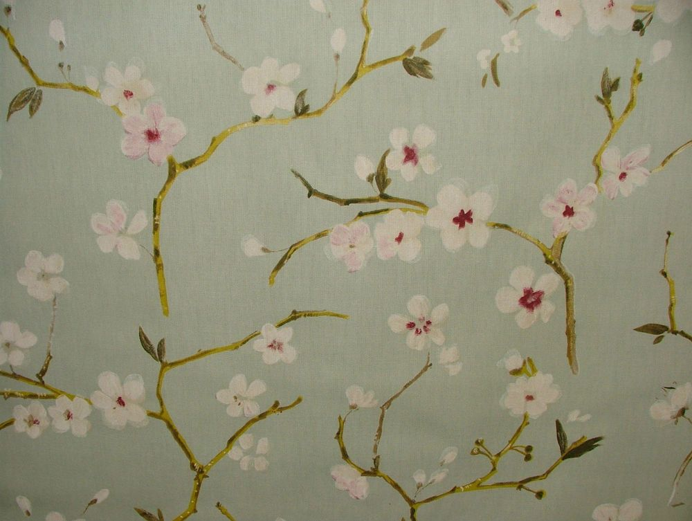 Emi Duck Egg Cherry Blossom Fl Curtain Blinds Upholstery Quilting Craft Colour Options 100 Cotton Multi Use Fabric