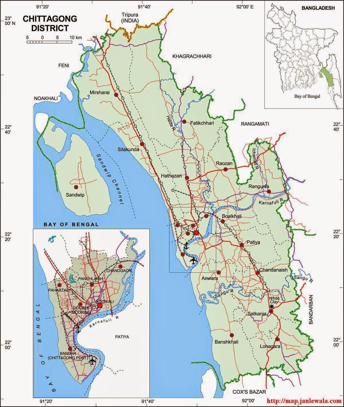Chittagong Zila Map, Chittagong Division, Bangladesh ...