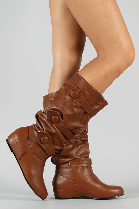 Merger-S Womens Mid Calf Buckle Decorative Hidden Heel Slouch Boots