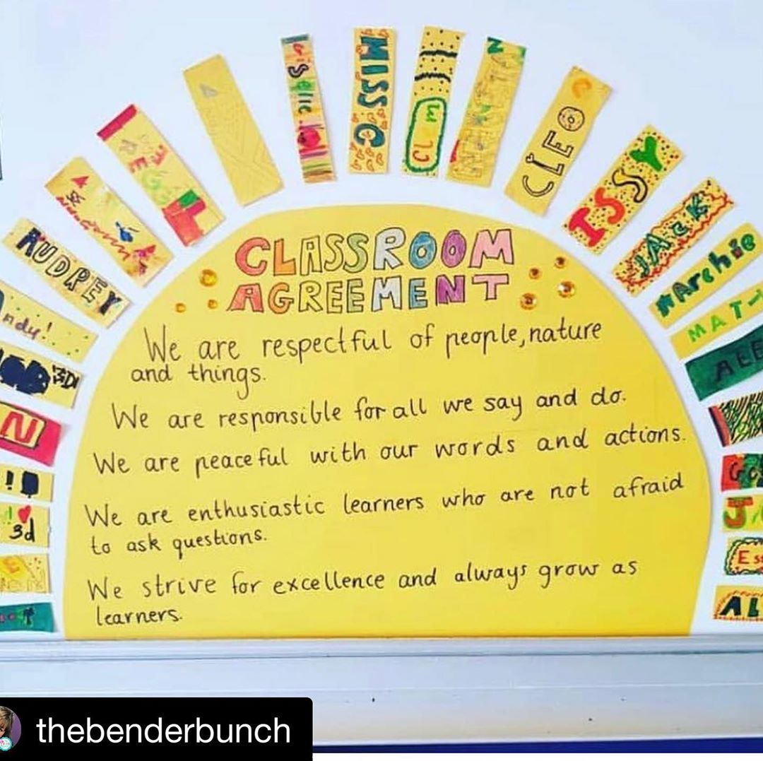 "@sparkles.pencils.and.plans on Instagram: ""Adorable way to display classroom agreements! . . .  Repost @thebenderbunch with @get_repost ・・・ I 💛💙💚 this SO much!!! Thinking of doing…"""