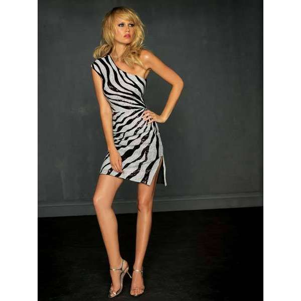 zebra print dresses | Night Moves Prom Dress - Short Zebra Print ...