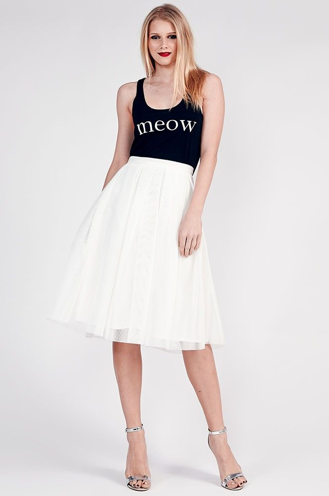 Maitai Off White Mary Box Pleat Skirt