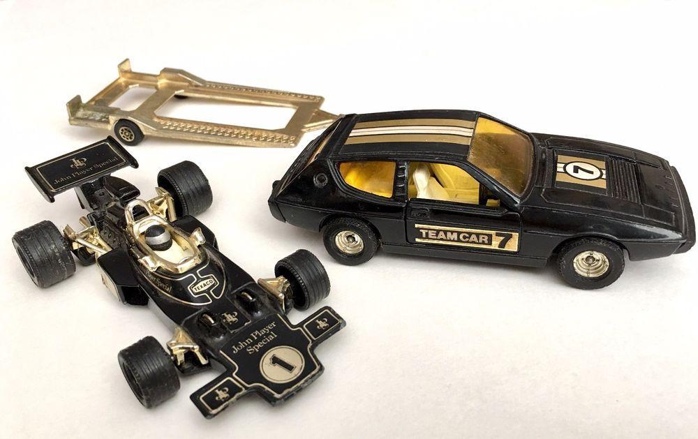 Corgi Lotus Elite Team Car 7 John Player Special Diecast Vintage Car With JPS Racing Car And Trailer 1970s Set