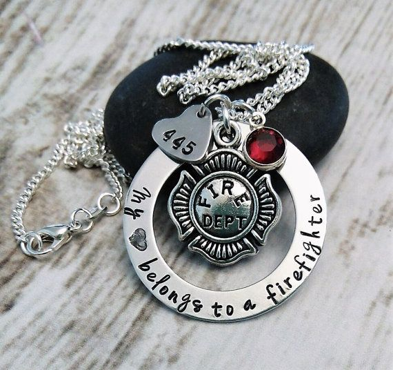 f lekton love necklace firefighter cute black info plus print jewelry girlfriend