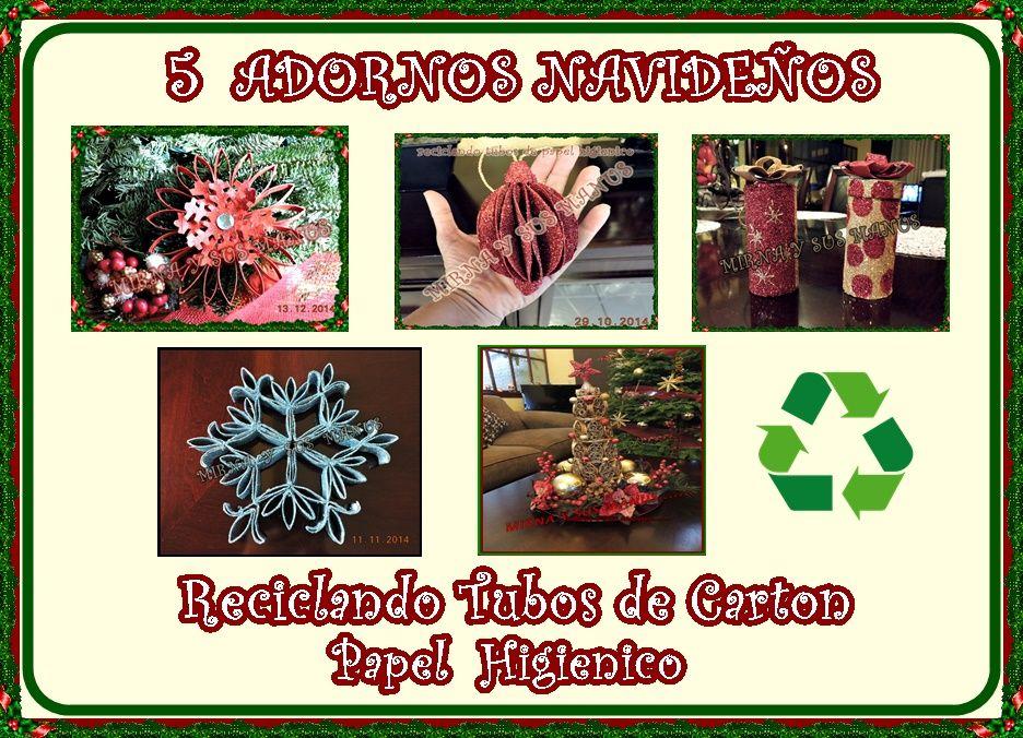 Hola amigas y amigos.. Hoy les muestro 5 de mis trabajos navideños reciclando tubos de Carton  de papel Higienico.. Espero les guste y te p...