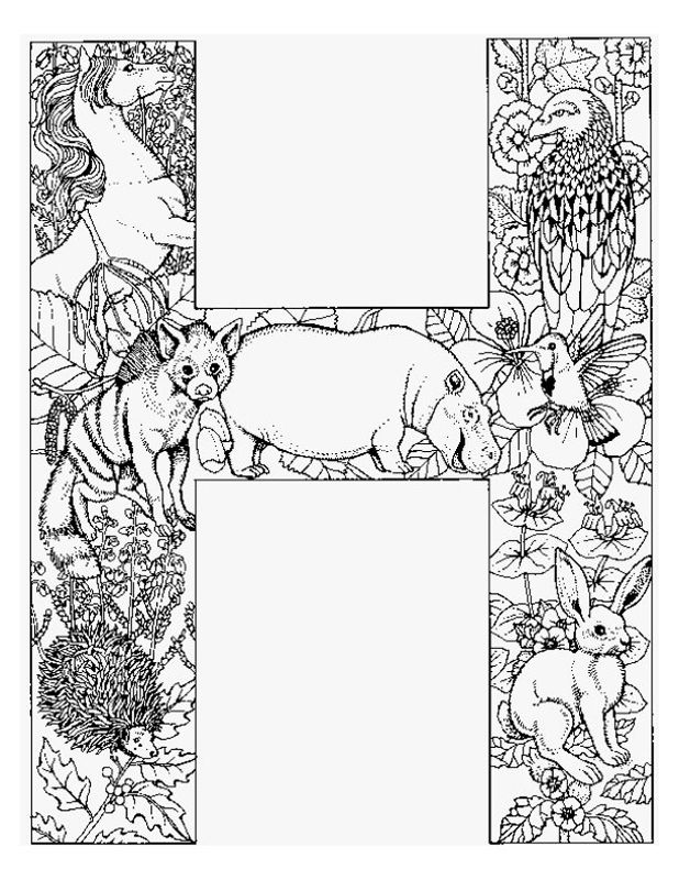 Alphabet Animal Coloring Pages H Alphabet coloring pages
