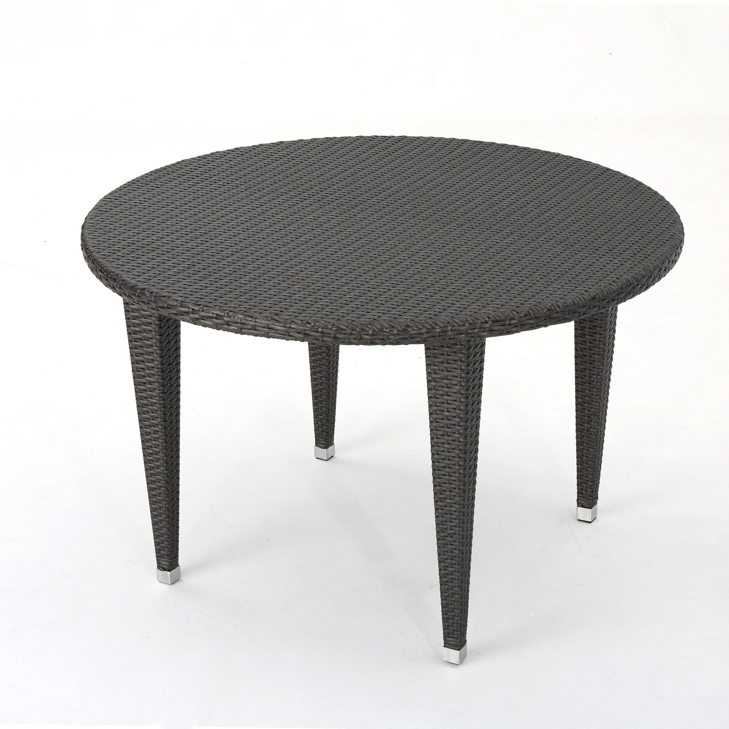 Dominica Outdoor Wicker Round Dining Table By Christopher Knight Home Multi Brown Patio Furniture Metal