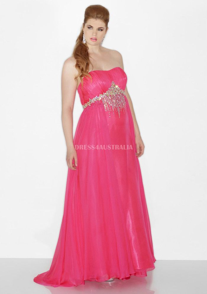 Hot Pink Sequins Front Chiffon Floor Plus Size Evening Dress Prom