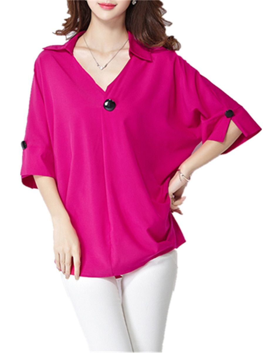 ac08b5ab313afc Buy Women's Blouse V Neck Half Batwing Sleeve Solid Button Plus Size Top &  Blouses -