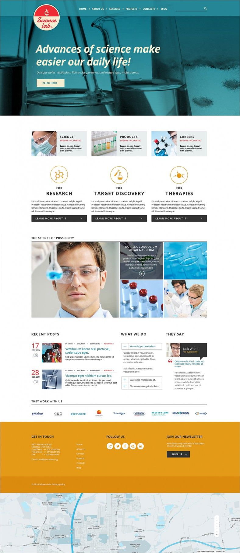 2 Columns Responsive Website Template for Science Lab – $69 ...