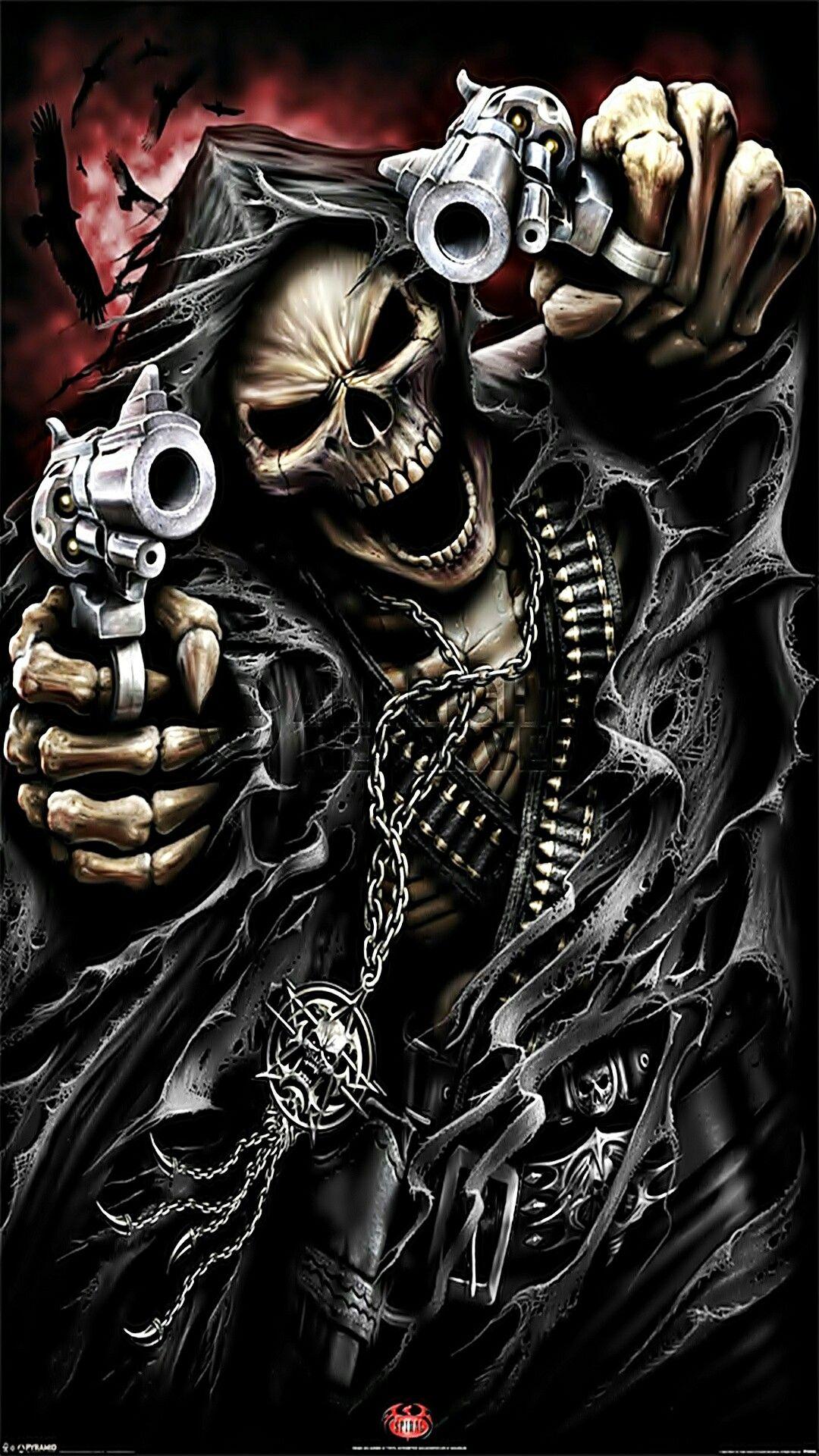 Skeleton with guns wallpaper skeleton clowns guns - Skeleton wallpaper ...