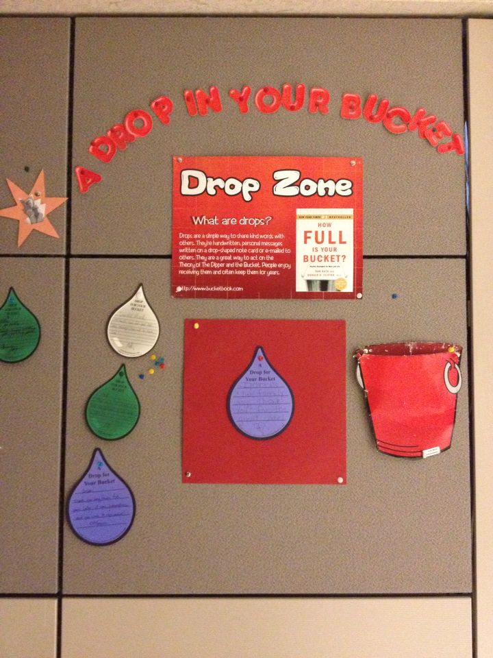 Drop zone employee recognition bulletin board