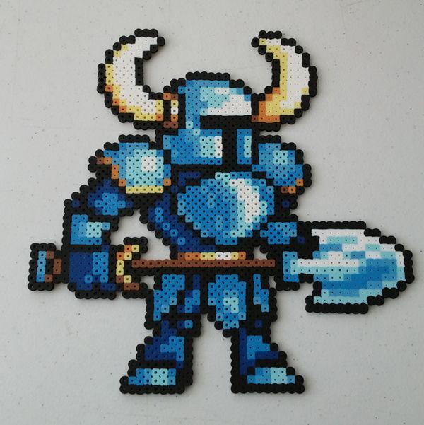 16 Bit Shovel Knight Perler Beads By Kamikazekeeg On Deviantart Pixel Art Pattern Perler Beads Perler Bead Art