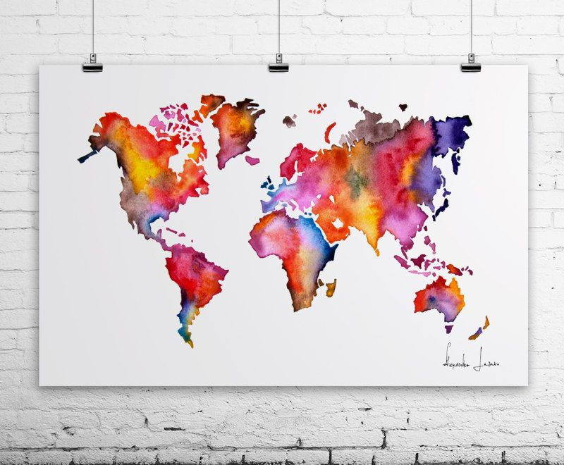 Watercolor map world map painting poster door watercolorprint 30 dit item is niet beschikbaar gumiabroncs Image collections