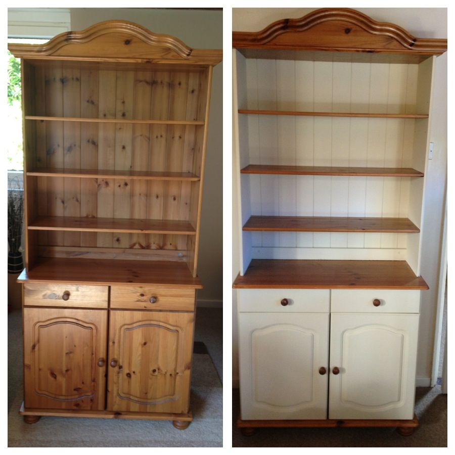 My welsh dresser before after painted using annie sloan chalk paint colour cream for Cream wooden furniture
