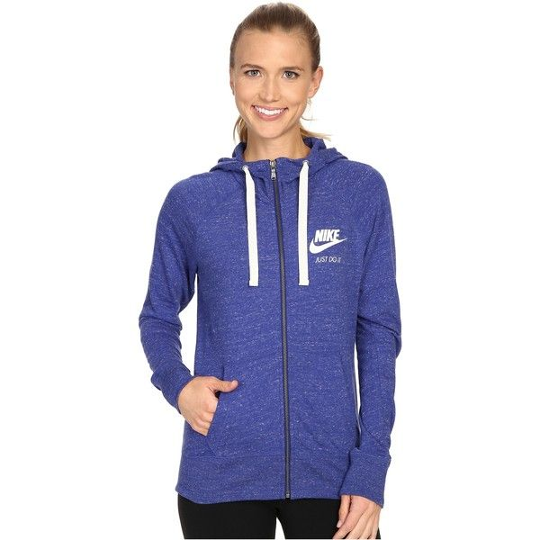 Nike Gym Vintage Full Zip Hoodie (Deep Royal Blue/Sail) Women's... ($55) ❤ liked on Polyvore featuring tops, hoodies, blue, hooded sweatshirt, blue hoodie, royal blue hoodies, full zip hoodies and full zip hoodie