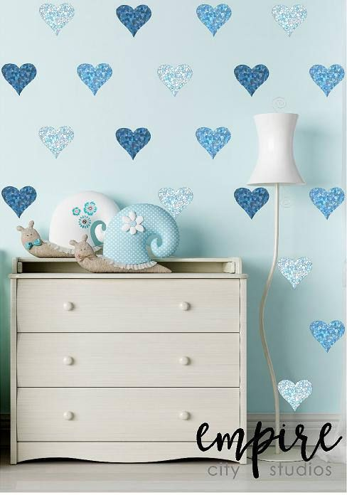 Mini mosaic tile hearts wall decal stained tiles mini heart vinyl decals blue mini