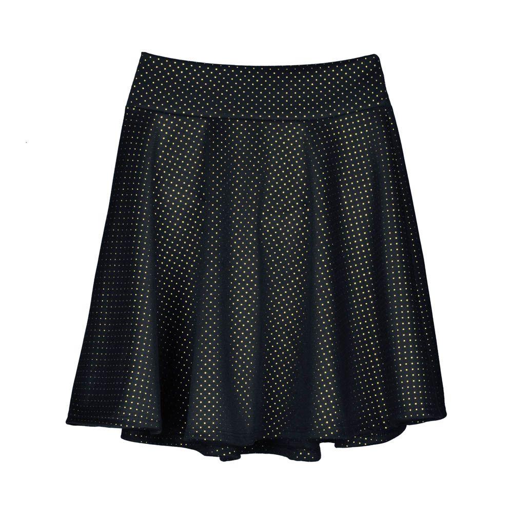 Falda corta de mujer corta evasé negra con puntos dorados 11c1d55c1dc1