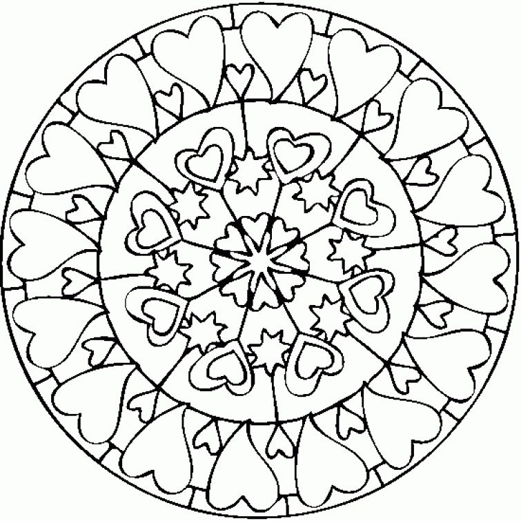 Heart mandala printable coloring page free | Abstract Coloring Pages ...
