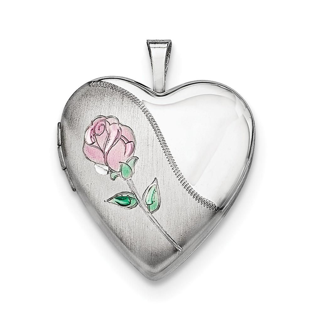 925 Sterling Silver Rhodium-plated w//Diamond Accent Floral Patterned Heart Locket Pendant Holds 2 Pictures