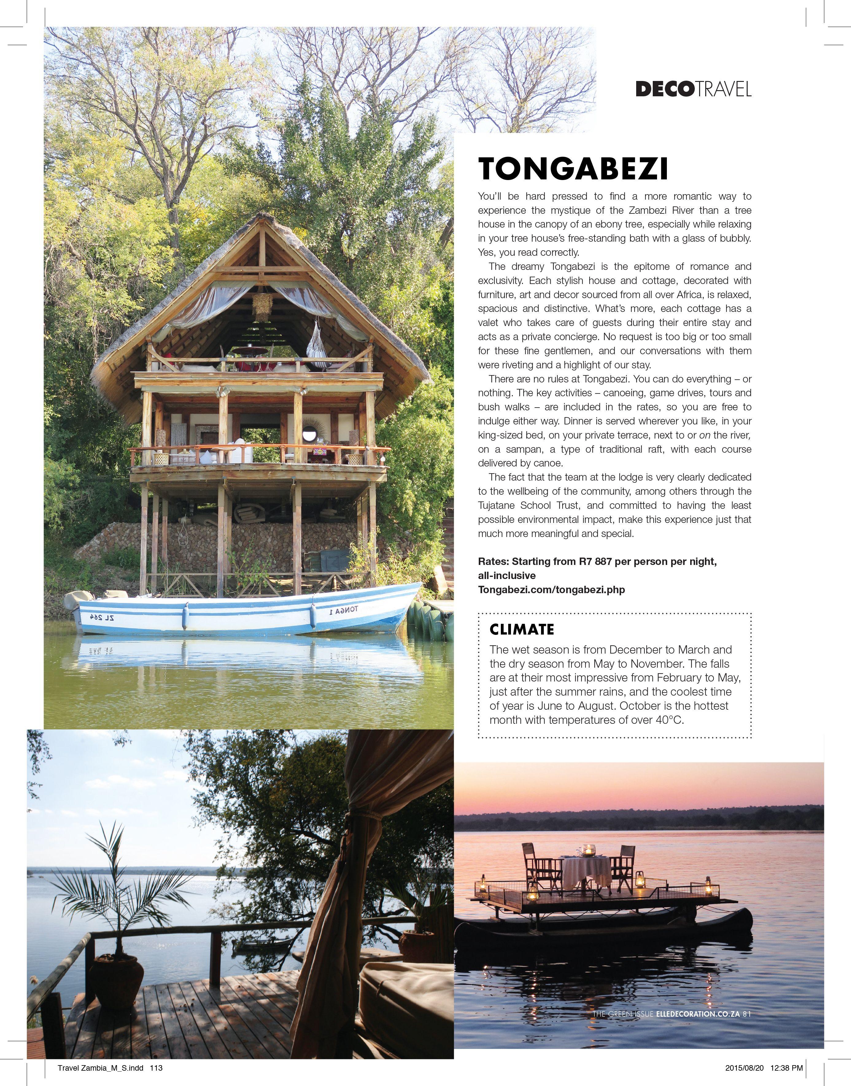 Bielle bellingham writes about tongabezi zambia for elle decoration sa
