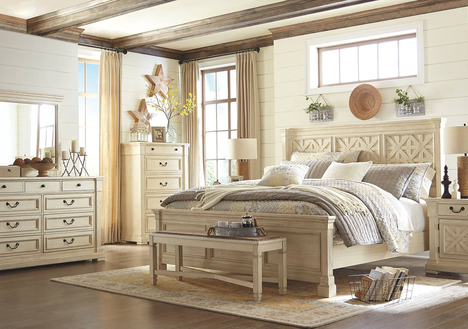 country style white wood bedroom set with matching