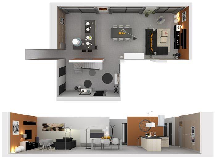 Aménagement et décoration d\'une grande pièce à vivre d\'une maison ...