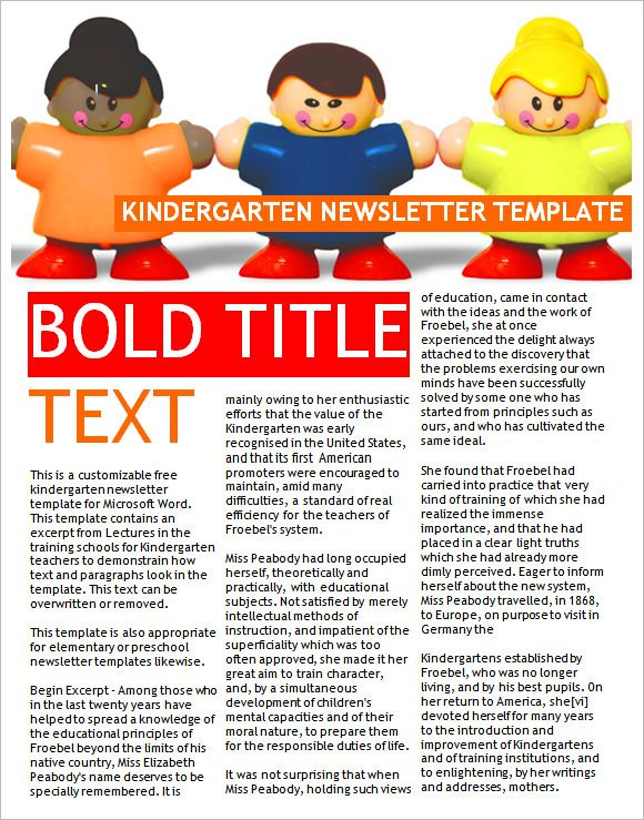 9+ Kindergarten Newsletter Templates - Free Sample, Example - free school newsletter templates for word