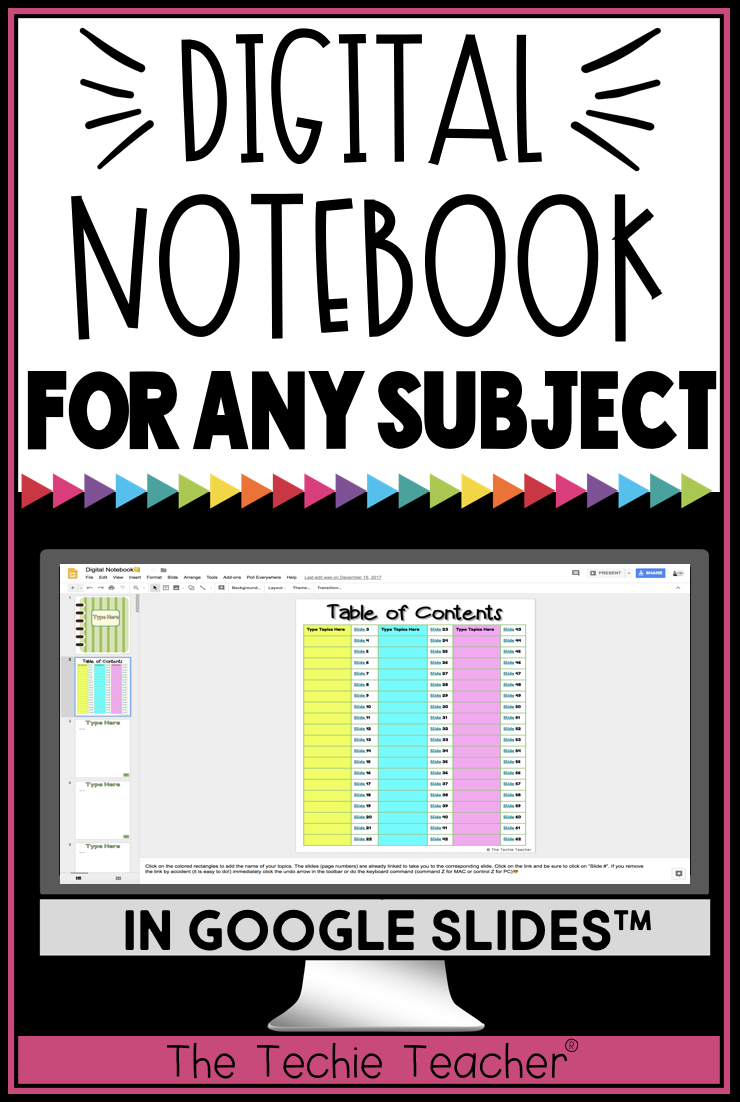 DIGITAL NOTEBOOK FOR ANY SUBJECT IN GOOGLE SLIDES