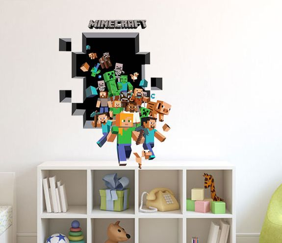 3D Large Minecraft Removable Wall Stickers Kids Room Vinyl Wall Decal Art Mural | eBay  sc 1 st  Pinterest & 3D Large Minecraft Removable Wall Stickers Kids Room Vinyl Wall ...