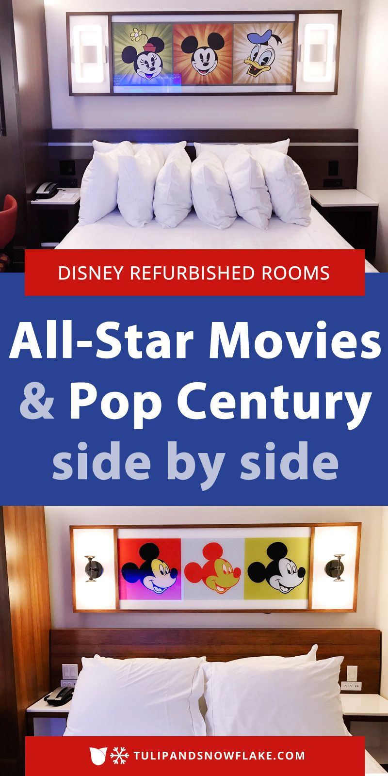 Disney S Pop Century And All Star Movies Refurbished Rooms Side By Side Disney Pop Century Disney Pop Disney Value Resorts