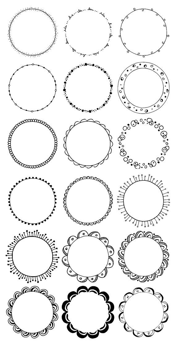 36 Hand Drawn Decorative Round Frames Circle Borders Floral Boho Tribal Abstract Doodle Waves Leaves Flowers Digital Clipart