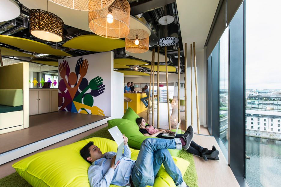 image of google office. Featured, Cozy Sofa And Cool Lamps In Google Office, Dublin: Attractive Interior Design Of Dublin Image Office