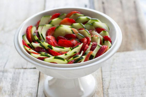 Strawberry Cucumber Salad with a light honey balsamic dressing that's perfect for warm summery nights
