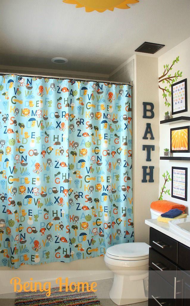 Nice Boys Bathroom Makeover   After (ABC Shower Curtain)