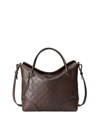 da17b3bd2646 Gucci Bree Guccissima Leather Top Handle Bag, Chocolate, at Neiman Marcus.  $1350