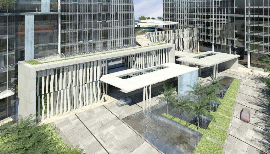 Modern angular hotel arrival water porte cochere porte for Hotel entrance design