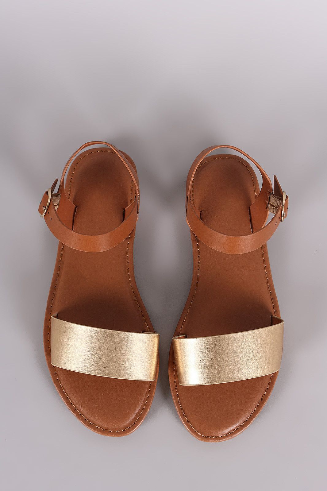 c399fa42607af8 Bamboo Two Tone Ankle Strap Flat Sandal