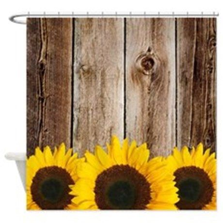 Decorate Your Country Themed Bathroom With This Rustic Barn Wood And Sunflower Shower Curtain