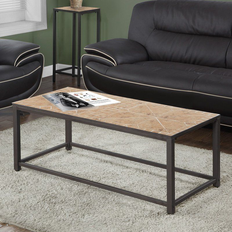 Monarch Specialties Tile Top Coffee Table | from hayneedle.com Dimension: 42L x 20W x 17H in. Metal frame with tile top Hammered brown metal frame finish Geometric terracotta tile pattern $232
