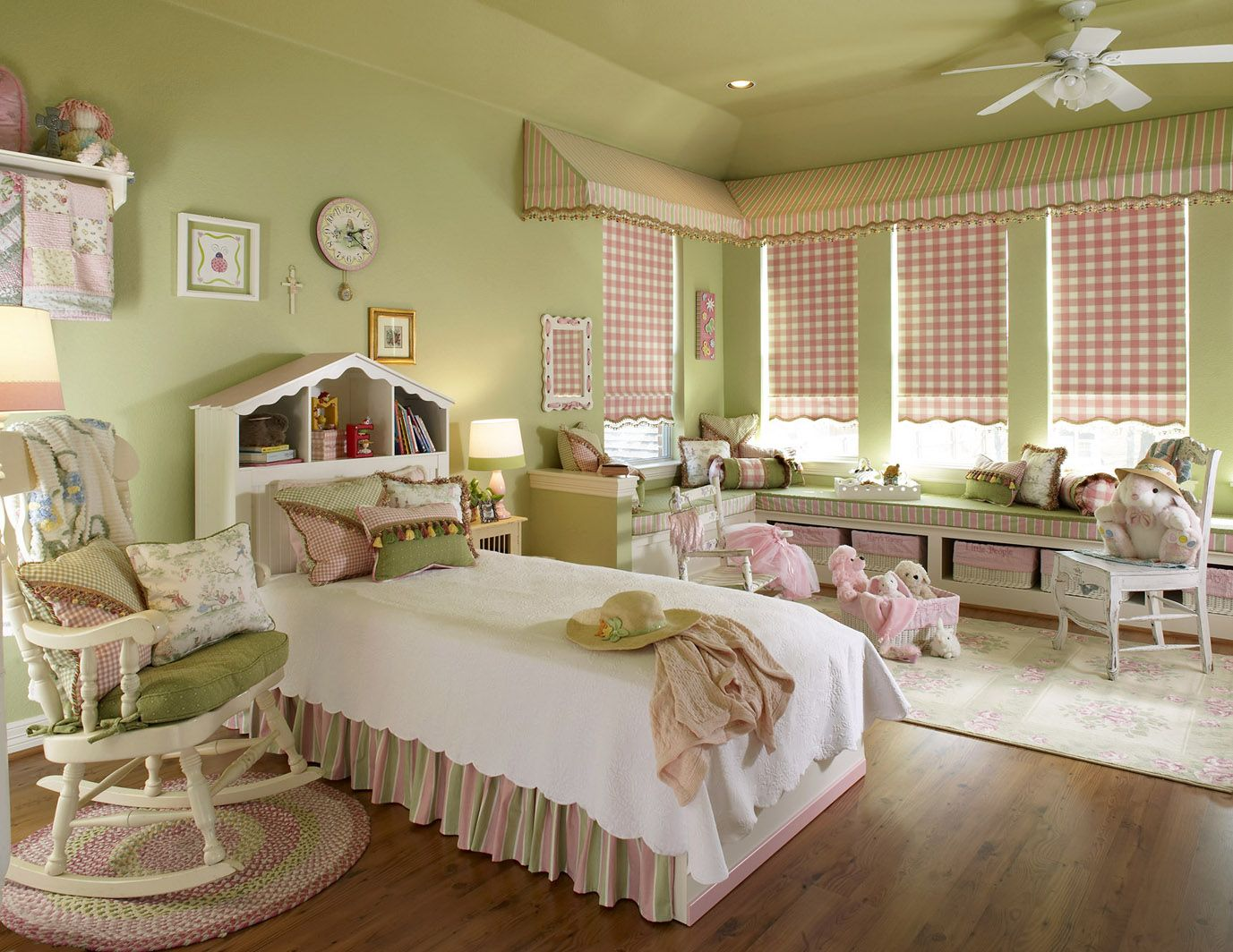 Cool Bedrooms In Pastel Green Color Sweet Retro Kids Bedroom With Great White Rocking Chair And Captivating Lshaped Bay Window Also Wooden