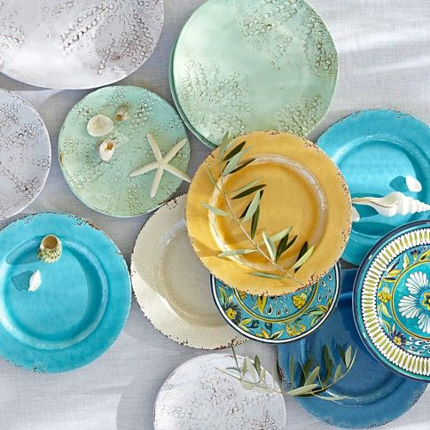 Coastal Melamine Plates William Sonoma For Seaside Dining Melamine Dinner Plates Outdoor Dinnerware Dinnerware