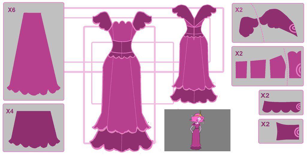 Hora de Aventuras. Patrón para vestido Princesa Chicle. Cosplay.