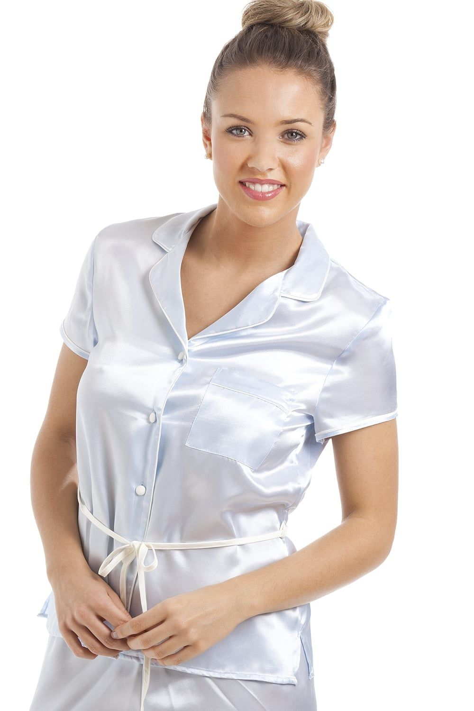 8228a7329dc0 Light Blue Short Sleeve Belted Satin Pyjama Set