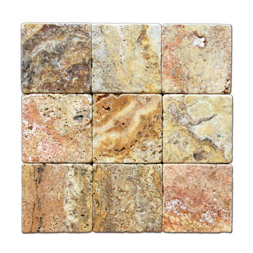 Scabos Travertine 4 X 4 Tile, Tumbled - Lot of 50 sq. ft. ** Check ...