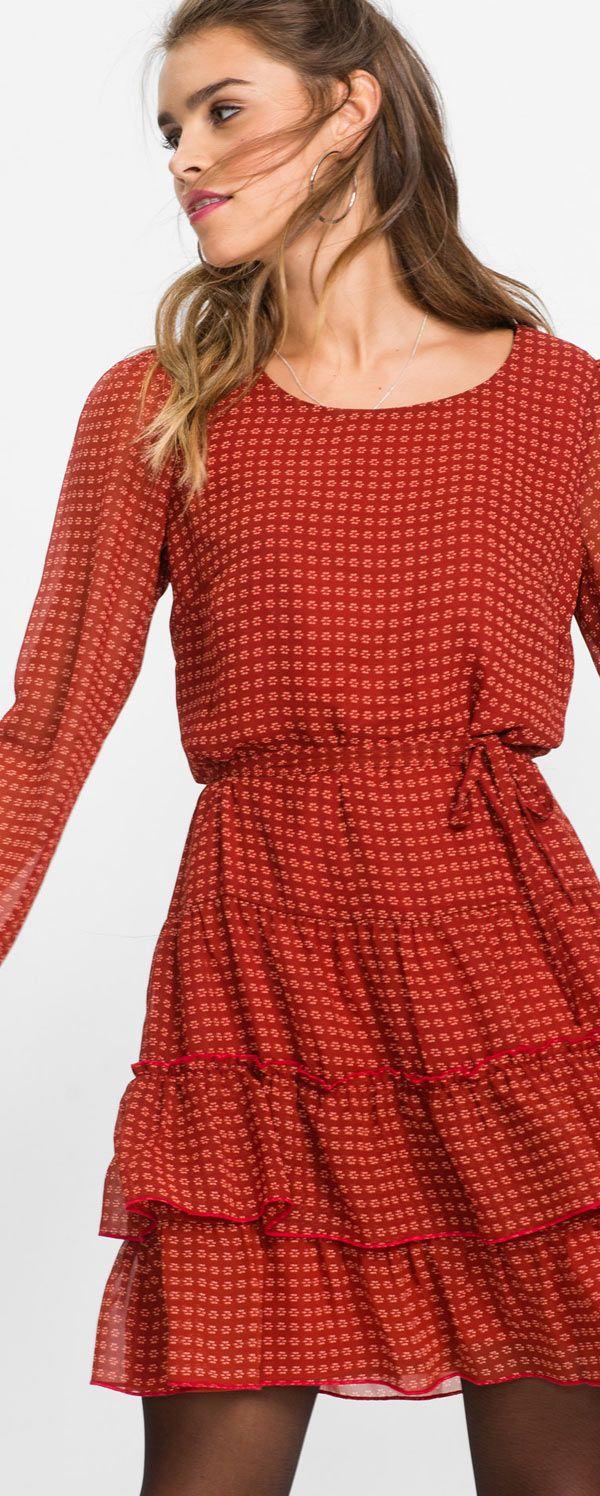 trendiges kleid mit volants und halbtransparente Ärmel
