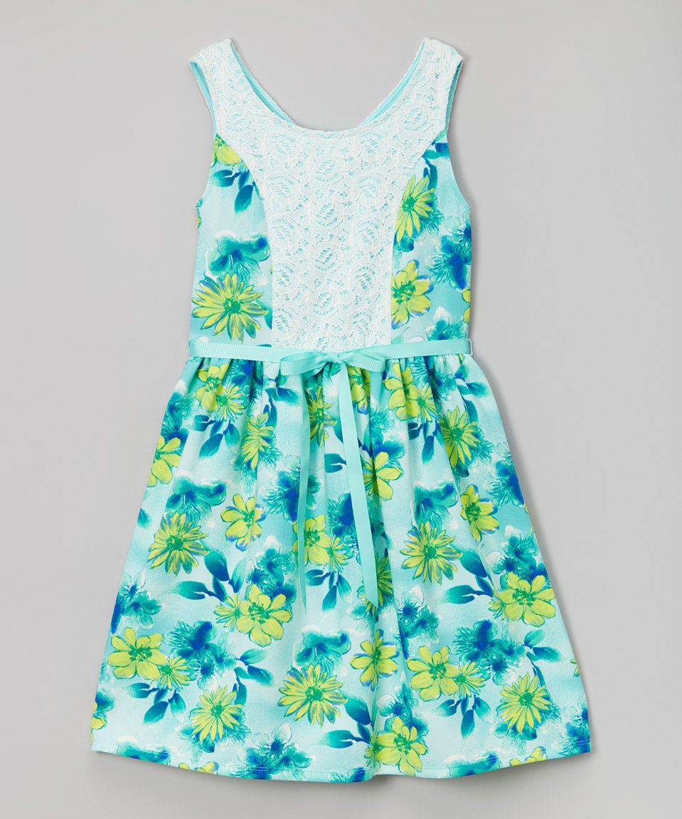 Loving this Speechless Aqua Floral Lace Skater Dress - Tween on  zulily!   zulilyfinds c0791e27a