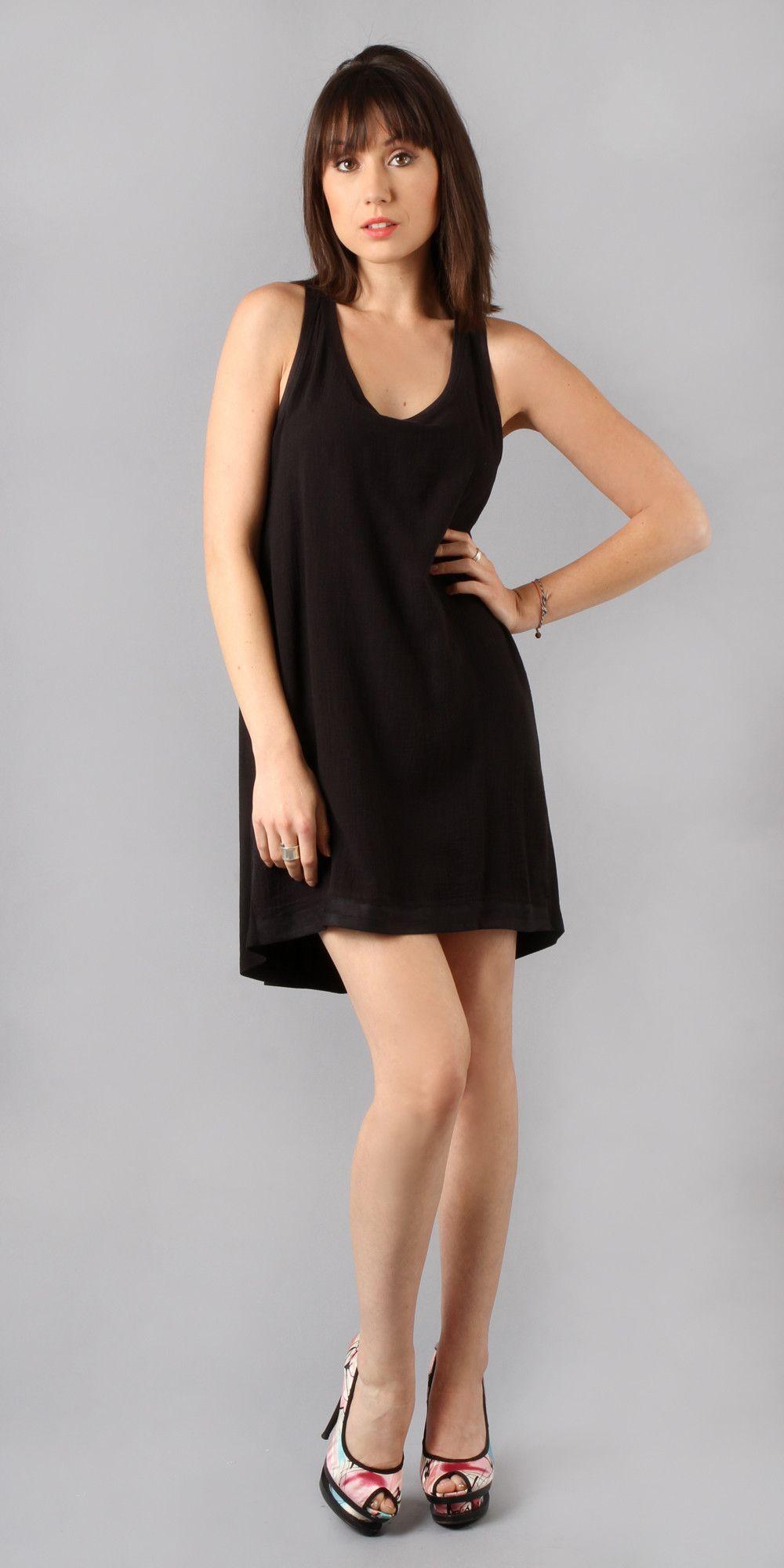 Black Bubble Gauze Tank Dress