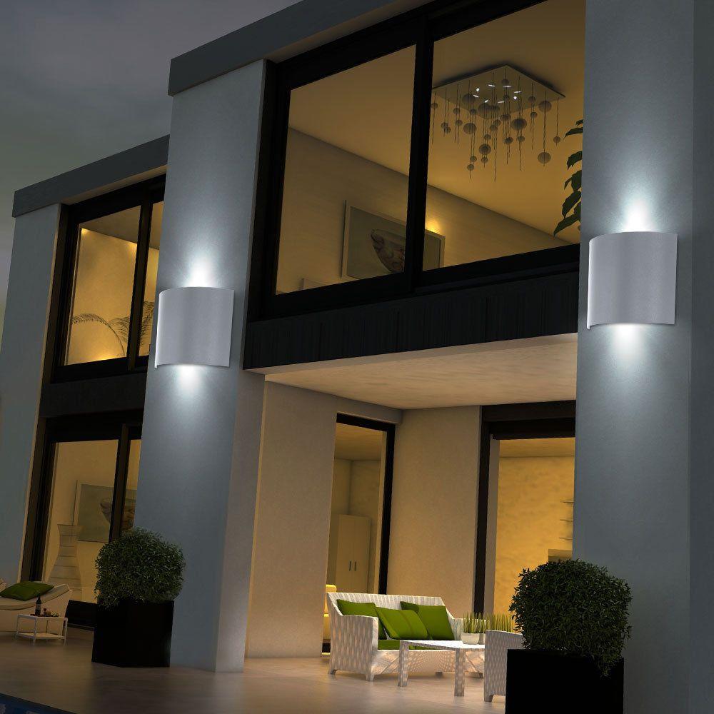 Details Zu 2er Set Led Aussen Wand Lampen Ip44 Terrasse Leuchten Up