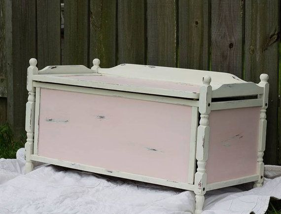 Shabby Chic Childs Toy Box Bench Chest Vintage By Wildattic